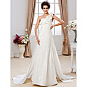 Sheath/ Column One Shoulder Court Train Taffeta Wedding Dress