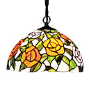 60W 1 - Light Tiffany Glass Pendent Light in Floral Design