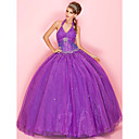 Ball Gown Halter Floor-length Organza Prom Dress