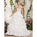 Ball Gown Strapless Chapel Train Crystal Flower(s) Beading Cascading Ruffles Sashes/Ribbons Wedding Dress