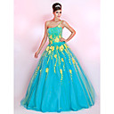Ball Gown One Shoulder Floor-length Tulle Prom Dress With Embroidery