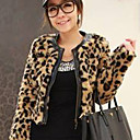 Long Sleeve Collarless Collar Office Faux Fur Jacket
