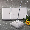Platinum Satin Wedding Guest Book and Pen Set