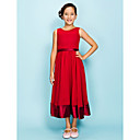 A-line Jewel Tea-length Chiffon Elastic Woven SatinJunior Bridesmaid Dress