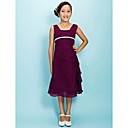 A-line Square Tea-length Chiffon Junior Bridesmaid Dress