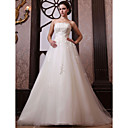 A-line Strapless Chapel Train Tulle Satin Wedding Dress