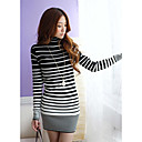 High-neck Stripe Bodycon Shirt
