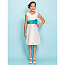 A-line V-neck Knee-length Taffeta Junior Bridesmaid Dress