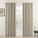 (Two Panels) Classic Ivory Solid Energy Saving Curtains