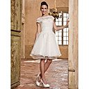 A-line Bateau Organza And Lace Wedding Dress