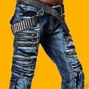 Men's Straight Zipper Pockets Jeans