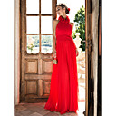 High Neck Floor-length Chiffon Pantsuit
