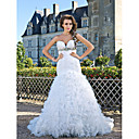 Trumpet/Mermaid Sweetheart Strapless Chapel Train Taffeta And Organza Crystal Detailing Wedding Dress