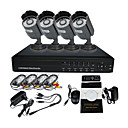 4 CH DVR Warterproof Outdoor IR CCTV Home Security Surveillance Camera System (IR 10m, 4CH D1 Recording)