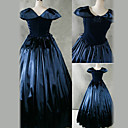 Short Sleeve Floor-length Ink Blue Satin Victorian Gothic Princess Lolita Dress