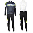Kooplus Road Green Series Men's Fleece Long Sleeve Suits with BIB Tights