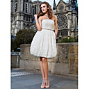 Ball Gown Strapless Knee-length Lace Wedding Dress