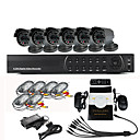 8 kanaals Surveillance Security System 6 Outdoor Warterproof Camera Night Vision