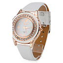 Women's Stylish PU Leather Analog Quartz Wrist Watch (White)