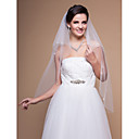 Elegant 2 Layers Fingertip Wedding Veil With Beaded Edge