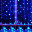 2Mx1.2M Pentagram Azul Lmpara LED String con 120 LEDs de la Navidad y decoracin de Halloween