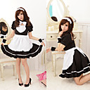 Hot Girl Black Polyester Maid Suit with Lace and Bow(3 Pieces)