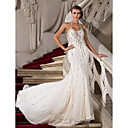 Trumpet/Mermaid Halter Court Train Tulle Evening Dress