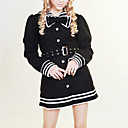 Long Sleeve Black and Pink Cotton Sailor Lolita Coat