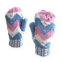 Lady's Colorful Pattern Woolen Yarn Gloves