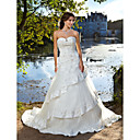 Ball Gown Sweetheart Chapel Train Tulle Satin Wedding Dress