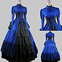 Long Sleeve Floor-length Blue Satin Cotton Aristocrat Lolita Dress