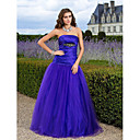 Ball Gown Strapless Floor-length Satin And Tulle Evening Dress