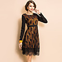 TS Lace Layered Long Sleeve Swing Dress
