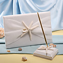 Starfish &amp; Sea Shell Beach Themed Wedding Guest Book and Pen Set