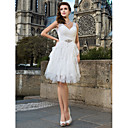 Sheath/Column V-neck Knee-length Tulle Wedding Dress