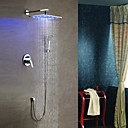 Solid Brass LED Shower Faucet with 10 inch Shower Head + Hand Shower