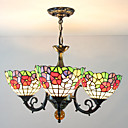 60W Tiffany Style Chandelier with Floral Patterned Shades