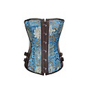 Unique Leatherette With Jacquard Strapless Front Busk Closure Corsets Shapewear