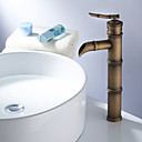Antique Brass Finish Bathroom Sink Faucet - Bamboo Shape Design