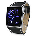29-Blue LED Pattern Style Wrist Watch (Black)