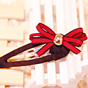Women's Red Layered Bow Ribbon Side Hair Clip