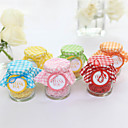 Lovely Glass Candy Jars With Plaid - Set of 20 (More Colors)
