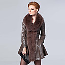 Stunning Long Sleeve Fox Fur Shawl Collar Lambskin Leather Casual/Party Coat (More Colors)