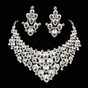 Elegante Alloy Met Kleurrijke Strass Dames Sieraden set inclusief ketting, oorbellen