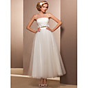 A-line Strapless Ankle-length Tulle Wedding Dress