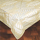 Printed Leaves Rectangular 100% Cotton White Table Cloth
