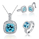 Gorgeous 925 Silver With Rhinestone/Aquamarine Women's Jewelry Set Including Necklace,Earrings,Ring(More Colors)