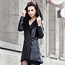 Long Sleeve Fox Fur Hooded Collar Lambskin Leather With Mink Fur Casual/Party Coat (More Colors)