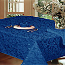 Jacquard Floral Rectangular Cotton Blend Blue Table Cloth