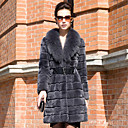 Fantastic Long Sleeve Fox Fur Shawl Collar Rex Rabbit Fur Casual/Party Coat (More Colors)